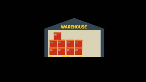 Delivery icons animation with black background.Warehouse icon animation with black background.