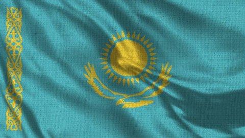 Kazakhstan Flag Loop - Realistic 4K - 60 fps flag of the Kazakhstan waving in the wind. Seamless loop with highly detailed fabric texture. Loop ready in 4k resolution