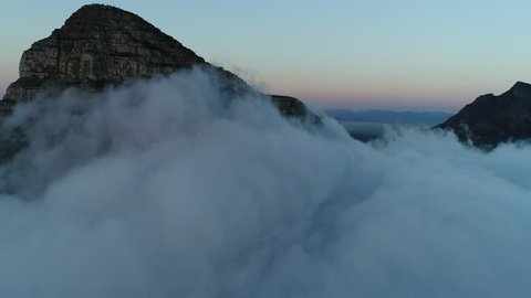 Lion's Head and Table Mountain Cape Town Sunset Aerial Reveal Shot