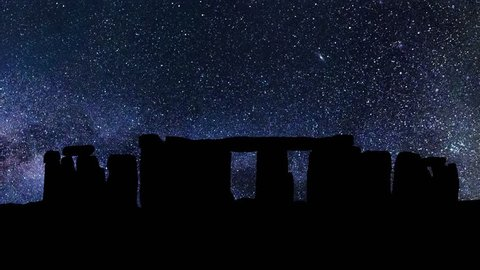 Stonehenge in Wiltshire, England, Stars Time Lapse at Night