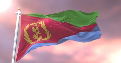 Flag of Eritrea waving at wind at sunset in slow, loop