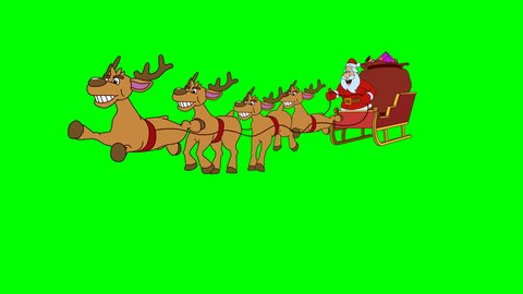 Santa Claus is quickly galloped with reindeer on Christmas sleigh. Looping animation. Original file 4K has alpha channel