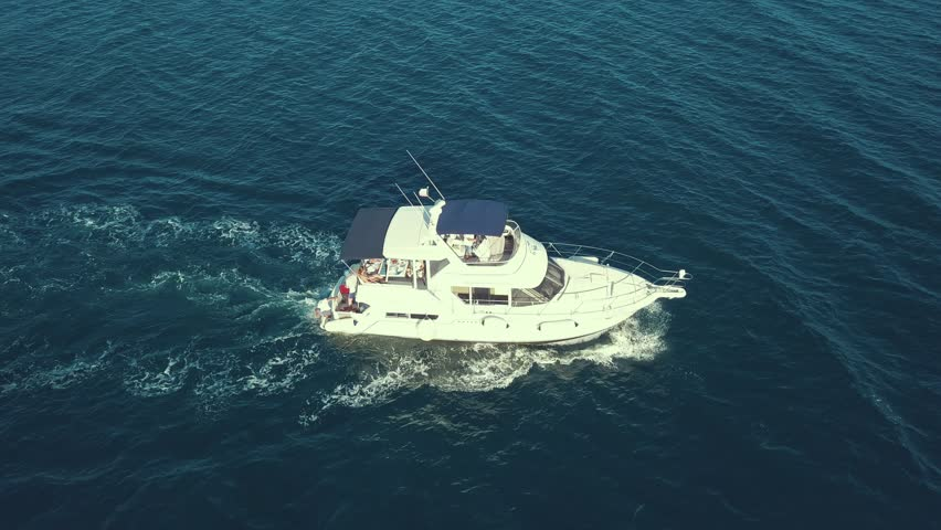 aerial view of sea emergency service team in fast speed motor boat
