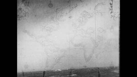 1950s: UNITED STATES: Old map of world. Colonisation of New World. Europe on old map. Ship at sea.