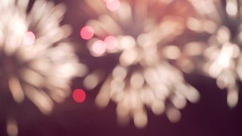 Defocused red fireworks during the night - cinematic 4k UHD end title scene