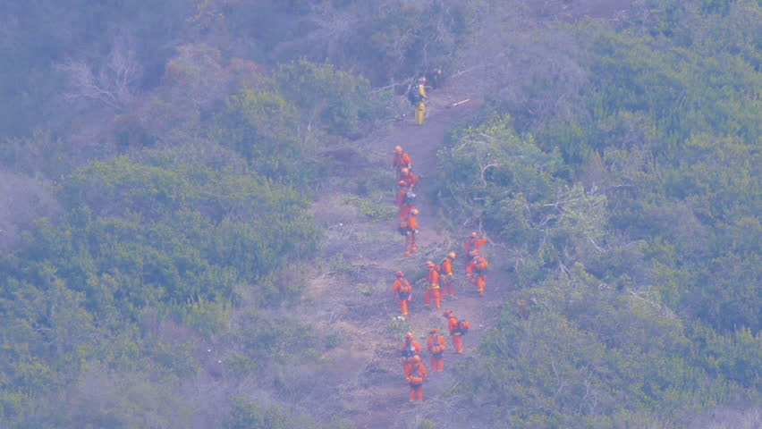 2017 - firefighters cut a fire line in dense brush and vegetation during the Thomas Fire in Ventura and Santa Barbara, California.