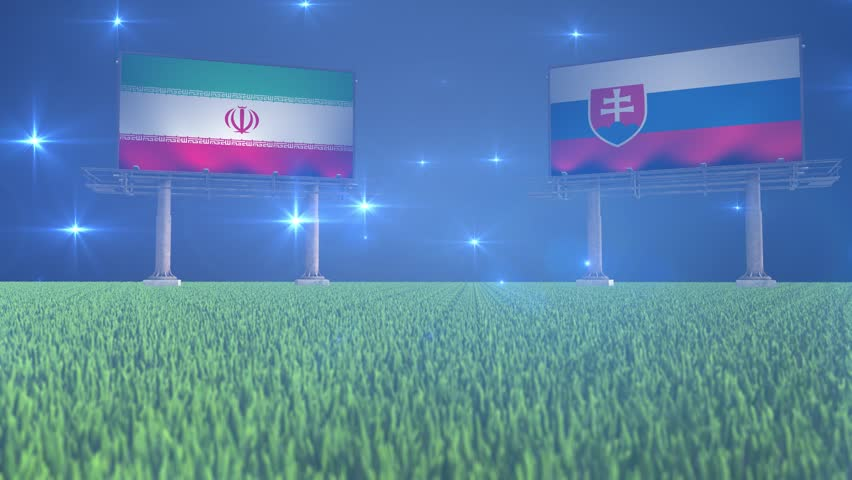 3d animated soccer ball bouncing in front of billboards with the flags of Iran and Slovakia with flickering lights in the background in 4K resolution
