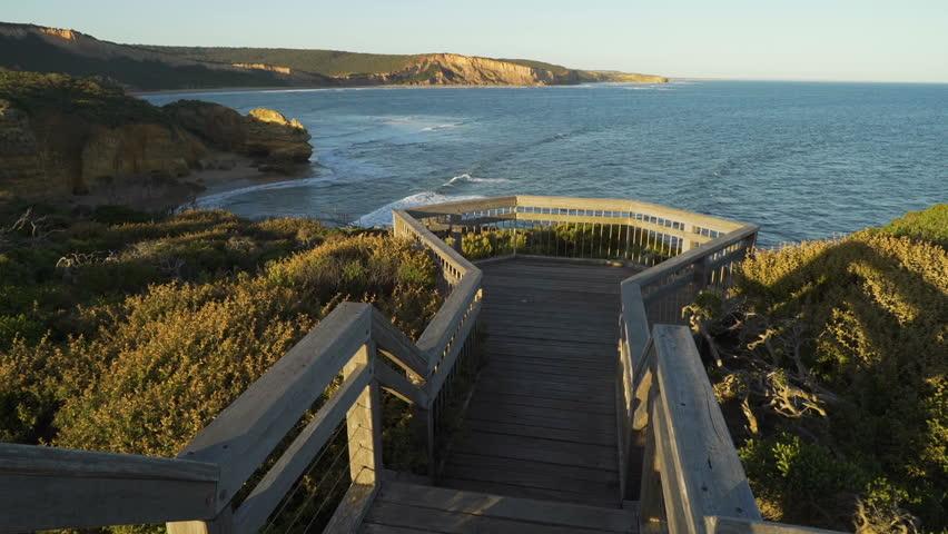 Boardwalk on Great Ocean Road in Torquay Australia, dolly in