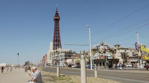 Blackpool front UK stock footage. Blackpool, UK. 29/06/18