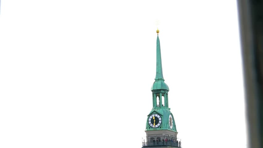 Munich, Germany - October 25, 2017: Vertical moving panorama of St Peter's Church gothic cathedral, symbol of city