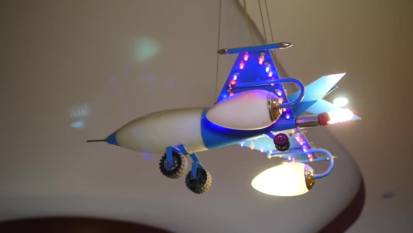 Plane toy on a ceiling, airplane kids chandelier
