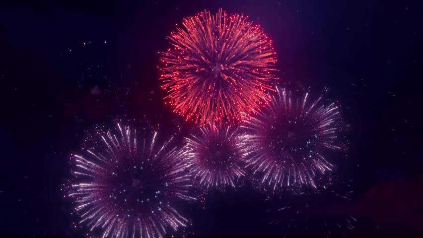 Explosions Of Beautiful Fireworks In The Dark cloudy star  Night Sky Seamless Loop Background for birthday, anniversary, celebration, Holiday, new year, Party, event and celebrations, Invitation | Shutterstock HD Video #1014203177