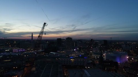 Birmingham city centre by drone at night