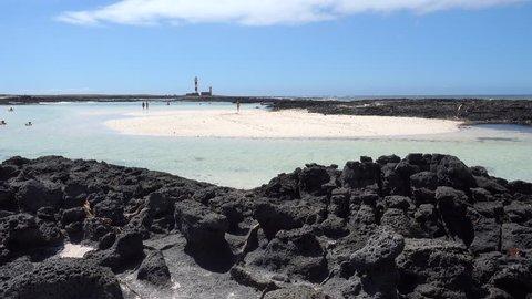 Playa Calas Cotillo Vistas Al Faro - Fuerteventura, Canary Islands - Spain.