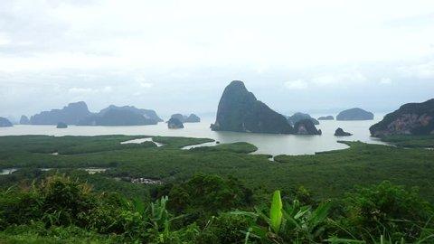 Panoramic view at Samet Nang She point in Phang Nga Bay,Thailand