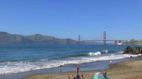 The Golden Gate bridge as seen from China Bach in San Francisco, California, USA