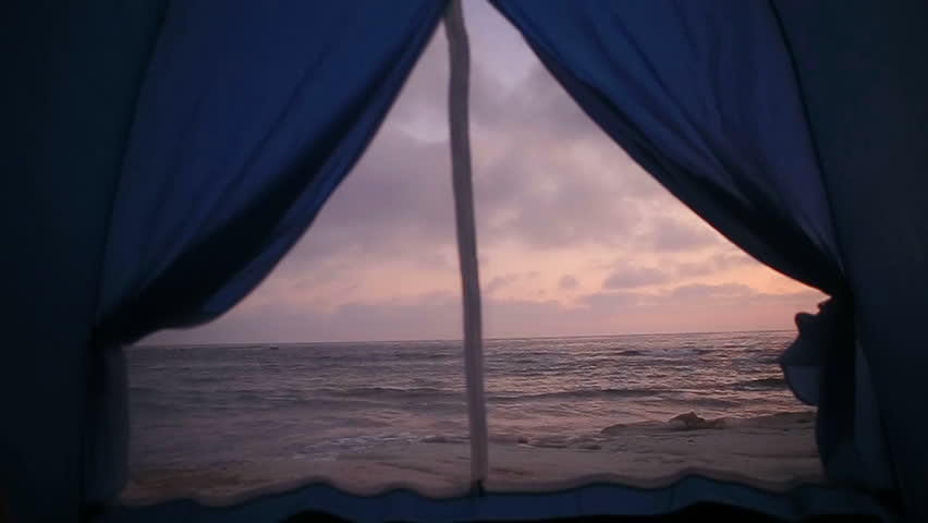 Sea landscape through the tent. Evening. Cyprus | Shutterstock HD Video #1014276557