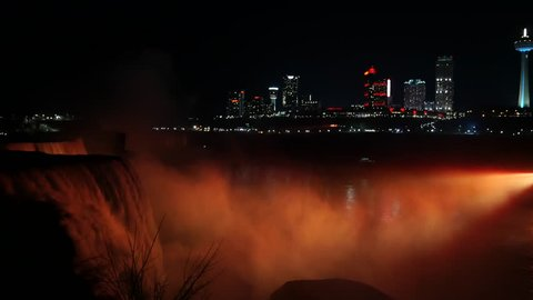 Niagara Falls LED lights show at night in the US side