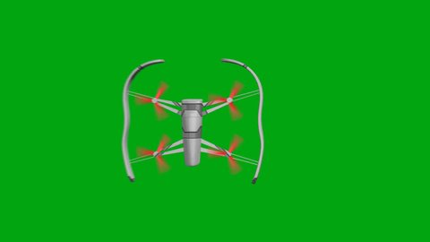 Drone with Rotating Rotors on a Green Background Flies to the Right Side. Top view. 3d animation, 4K