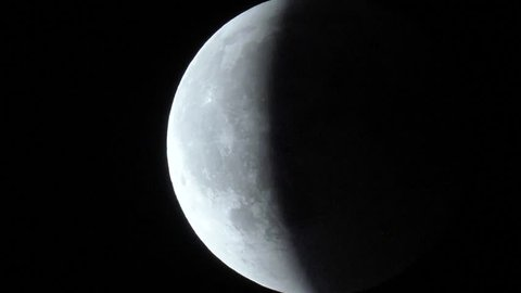 Majestic 4K UHD telescopic view of the total lunar eclipse during 27 July 2018 - central lunar eclipse which occurred near apogee and was the longest total lunar eclipse in 21st century