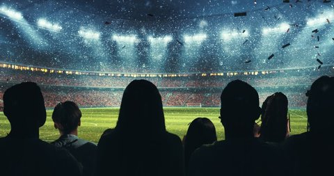 Fans celebrating the success of their favorite sports team and waving hands on the stands of the professional stadium while it's snowing. Stadium is made in 3D and animated.