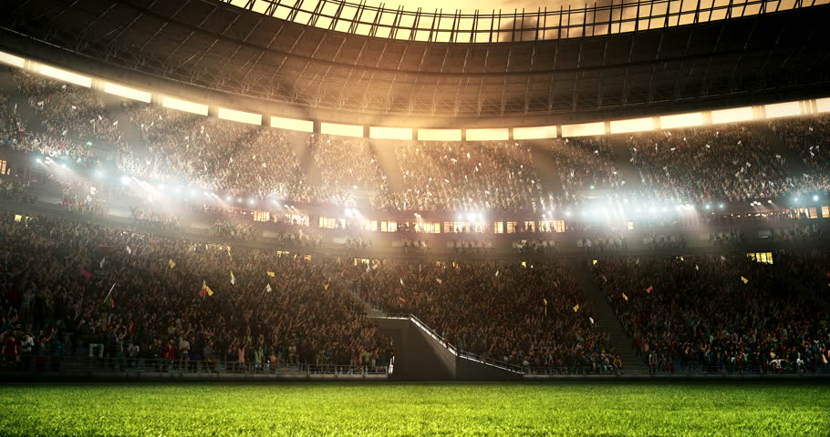 Footage of a professional soccer stadium while the sun shines. Stadium and crowd are made in 3D and animated.