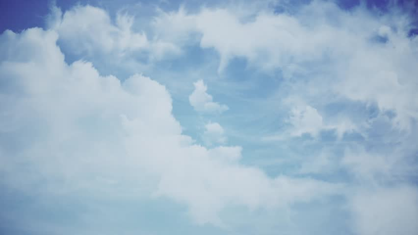 Fly through the clouds in the sky. Animation. Beautiful clouds at the sky