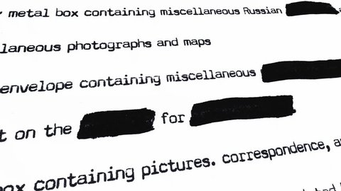 Browsing a secret and redacted document, top to bottom. Source: public domain list of Oswald items after Kennedy assassination, recreated from scratch with fake aging process.