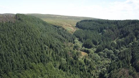 Aerial drone view flying over a forest covered hillside in South Wales