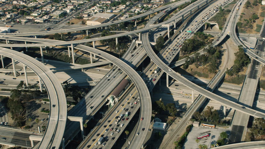 Aerial view of Los Angeles traffic during the day. The 110 highway.