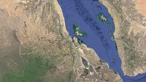 Eritrea with flag. 3d earth in space - zoom in Eritrea outer, created using ultra high res NASA