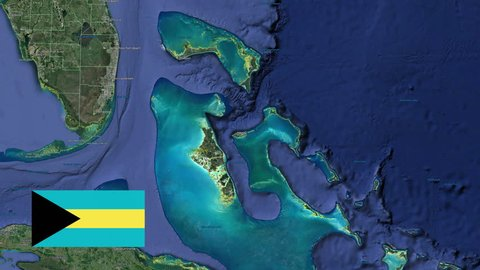 Bahamas with flag. 3d earth in space - zoom in Bahamas outer, created using ultra high res NASA