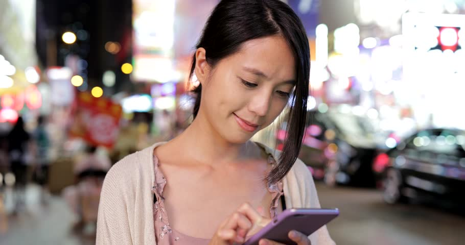 Woman use of smart phone at night | Shutterstock HD Video #1014419207