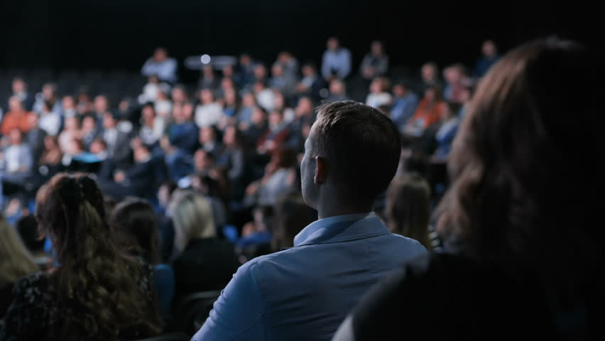 Crowd work at congress for banking leadership or cooperation solution. Strategy briefing or modern education for team of entrepreneur. Row of seats or chairs in large place for listener or spectator | Shutterstock HD Video #1014434867