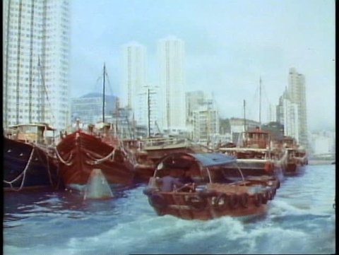 HONG KONG, CHINA, 1982, Aberdeen, the floating city, boat people, skyline, POV