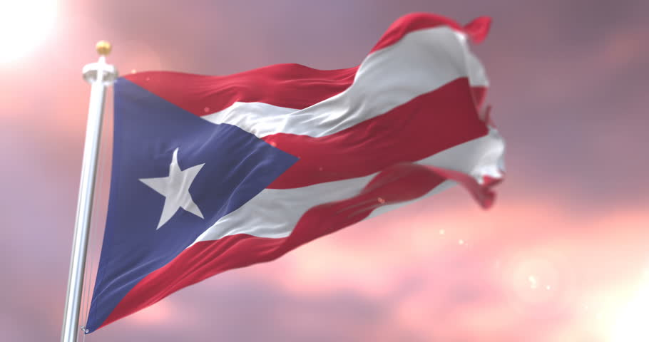 Flag of Puerto Rico waving at wind in slow, loop