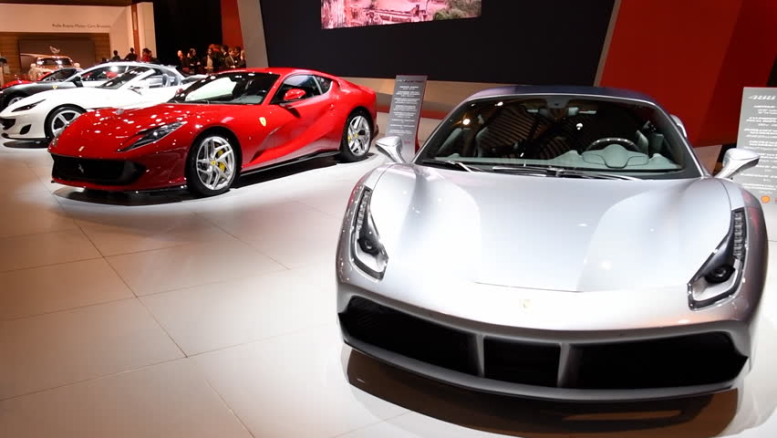 Ferrari 488 GTB two-door coupe and Ferrari 812 Superfast sports cars on display at the 2018 European motor show in Brussels.
