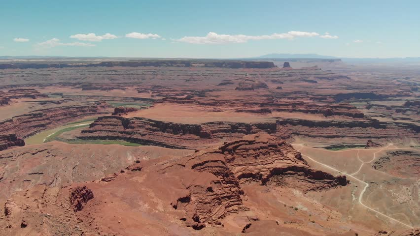 River and mountains in Dead Horse Point State Park, aerial view from helicopter.