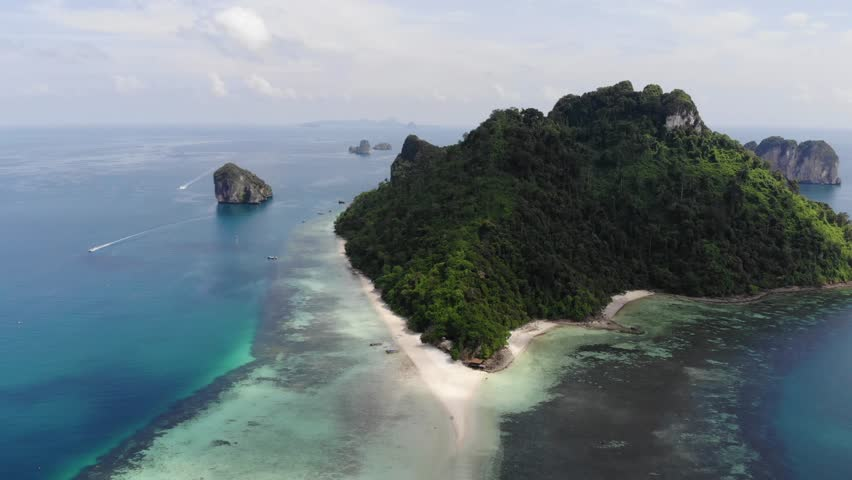 Thailand Phi Phi Island Blue Azure Water and boats and beach and Snorkel Drone 4K    Shutterstock HD Video #1014530537