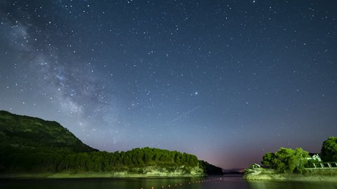 Time lapse of the milky way at the reservoir in Ardales , pantano del chorro ,Embalse del conde de Guadalhorce, close to Caminito del Rey in Malaga, Andalucia, Spain.