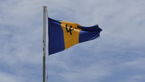 Barbados flag in Bridgetown, St Michael, Barbados, West Indies, Caribbean