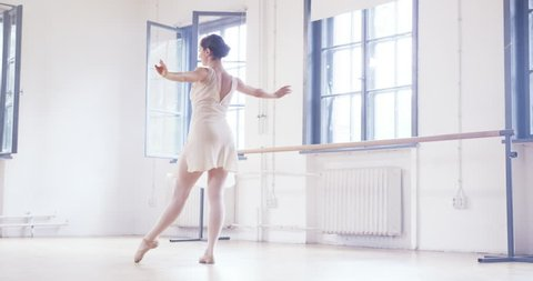 Beautiful Ballerina Body Stretching Wearing Tiptoe Shoes Sacrifice Innocence Concept Slow Motion Red Epic