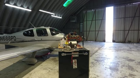Concord, NC USA 06/17/16 Mechanics working on Cessna