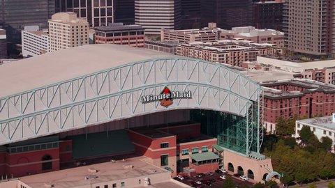 HOUSTON, TEXAS, USA - AUGUST 1, 2018: Aerial closeup Minute Maid Park Houston Texas