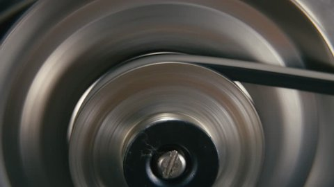 Movement Of Metal Wheel In A Mechanical Device. Gearbox
