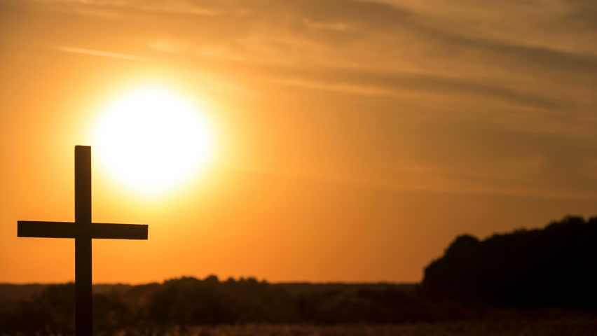 Time-Lapse, Red sun, sunset  and  Christian Cross. #1014626597