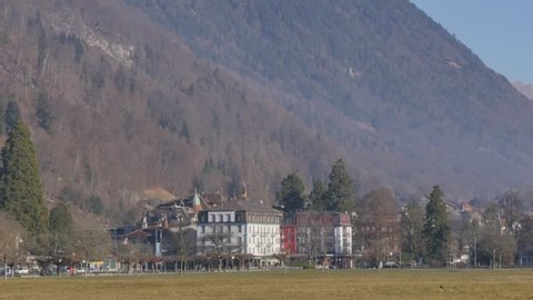 Schlosskirche and Rom.-Katholische Kirchgemeinde in Centre Park, Interlaken, Jungfrau region, Bernese Oberland, Swiss Alps, Switzerland, Europe