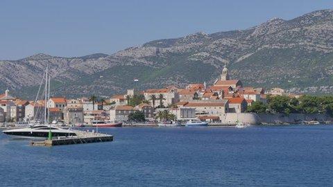 Elevated view of Korcula Old Town, Korcula Island, Dalmatia, Croatia, Europe