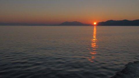 Sunrise at sea, Korcula, Dalmatia, Croatia, Europe