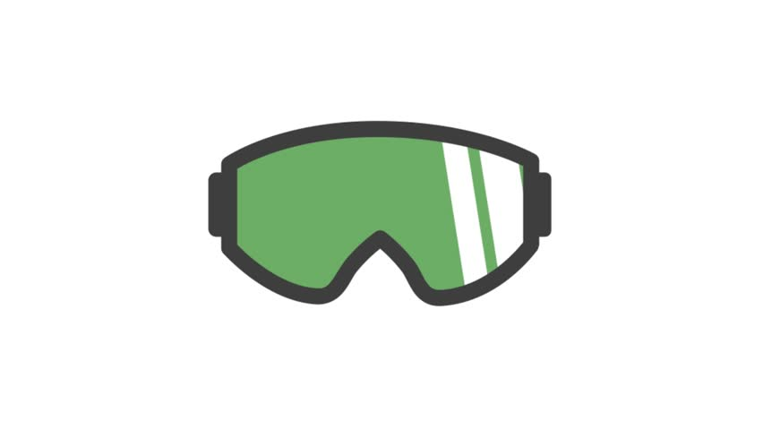 Sports icons animation with white  background.Ski Goggles icon animation with white background.